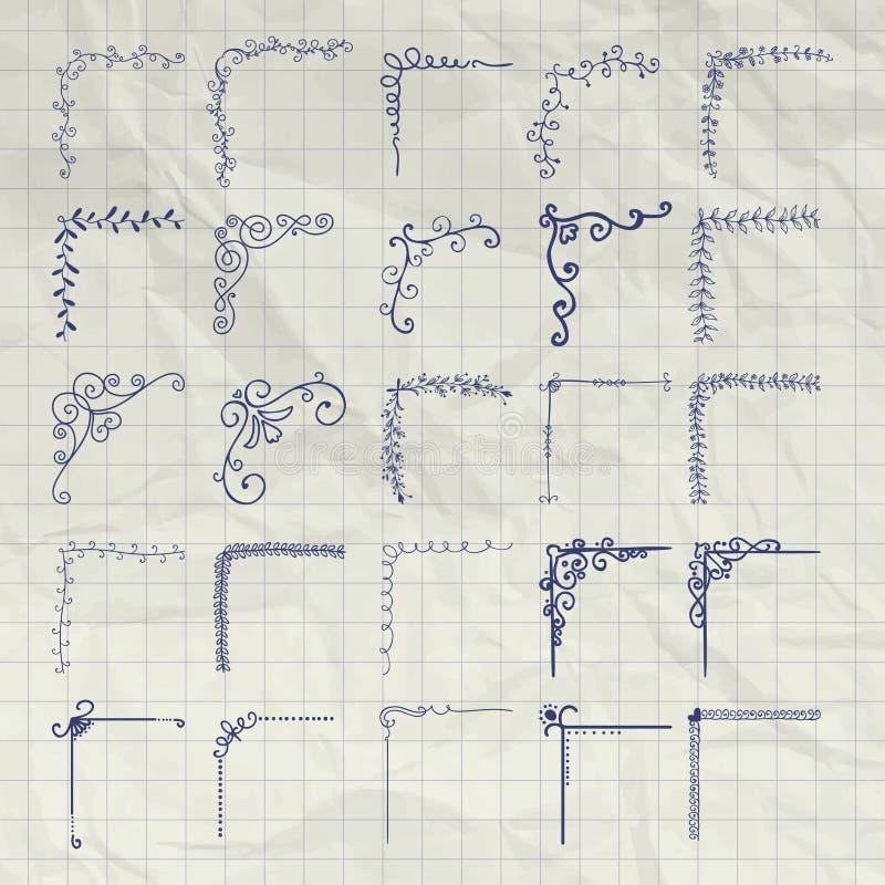 在被弄皱的纸的传染媒介装饰笔图画被概述的角落 皇族释放例证