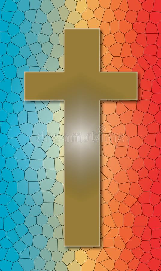 在被弄脏的彩色玻璃的基督徒十字架 免版税库存图片