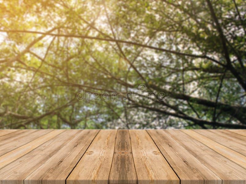 在被弄脏的背景前面的木板空的桌 在迷离树的透视棕色木桌在森林背景中 免版税图库摄影