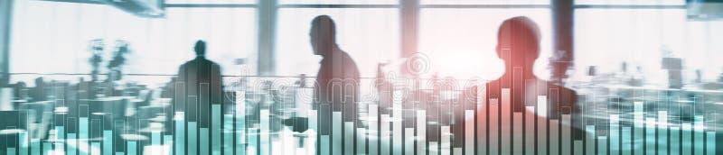 在被弄脏的背景的企业和财务图表 贸易、投资和经济概念 网站倒栽跳水横幅 免版税库存照片