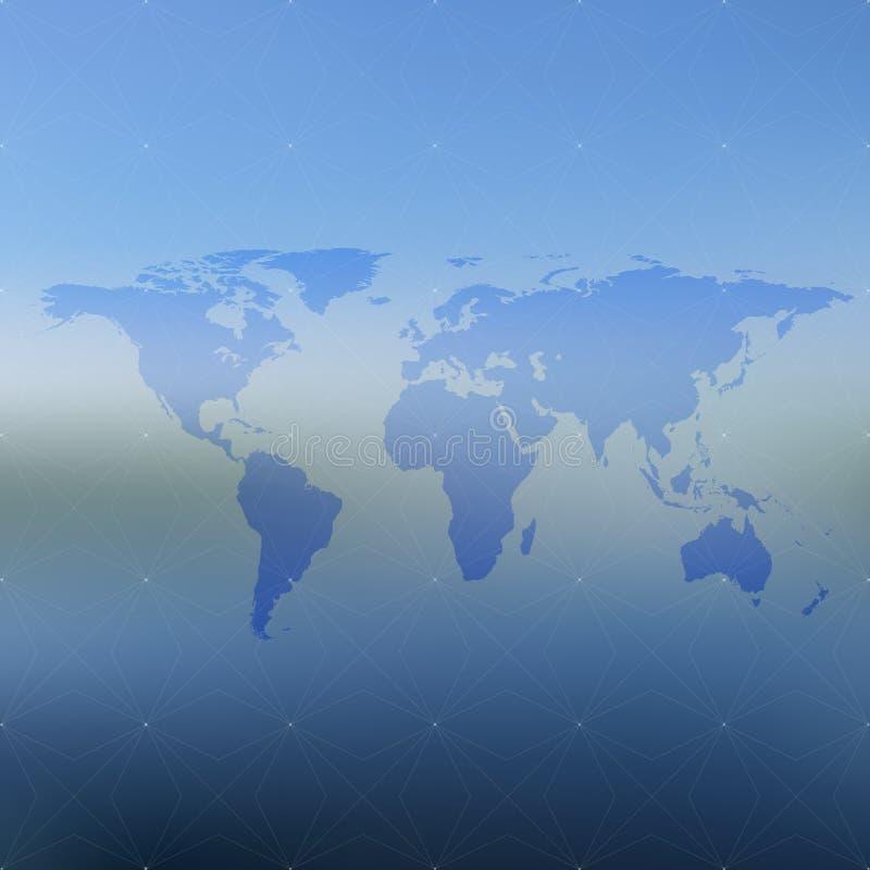 在被弄脏的背景,例证的政治世界地图 库存例证