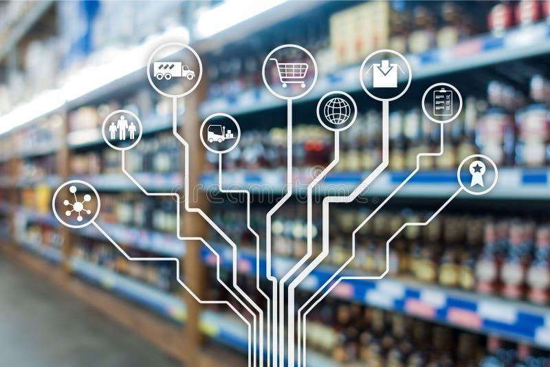 在被弄脏的超级市场背景的零售概念销售渠道电子商务购物自动化 免版税图库摄影
