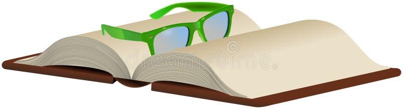 在被打开的书的绿色玻璃 皇族释放例证