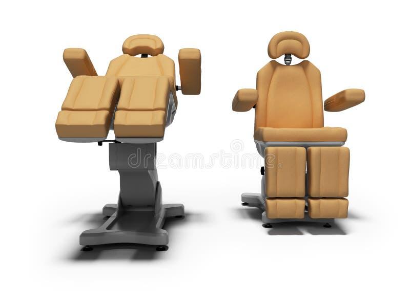 在被折叠的和展开的状态正面图3d的现代皮革修脚椅子回报在与阴影的白色背景 库存例证