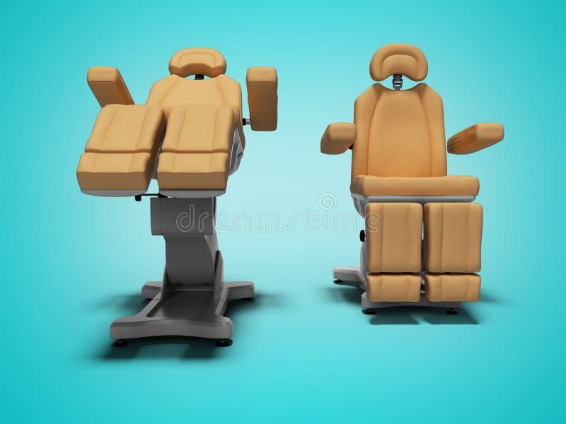 在被折叠的和展开的状态正面图3d的现代皮革修脚椅子回报在与阴影的蓝色背景 库存例证