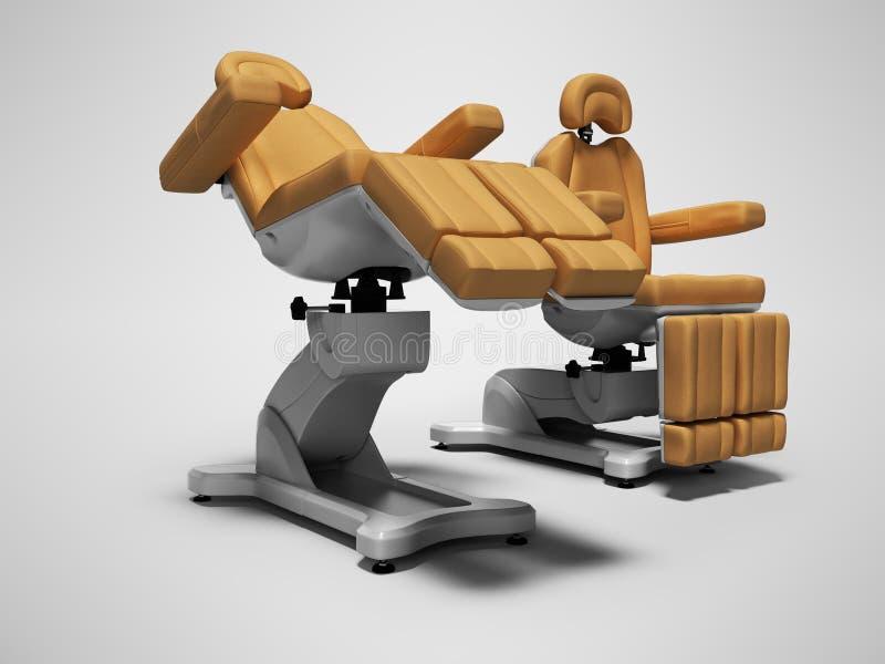 在被折叠的和展开的状态3d的现代皮革修脚椅子在与阴影的灰色背景回报 库存例证