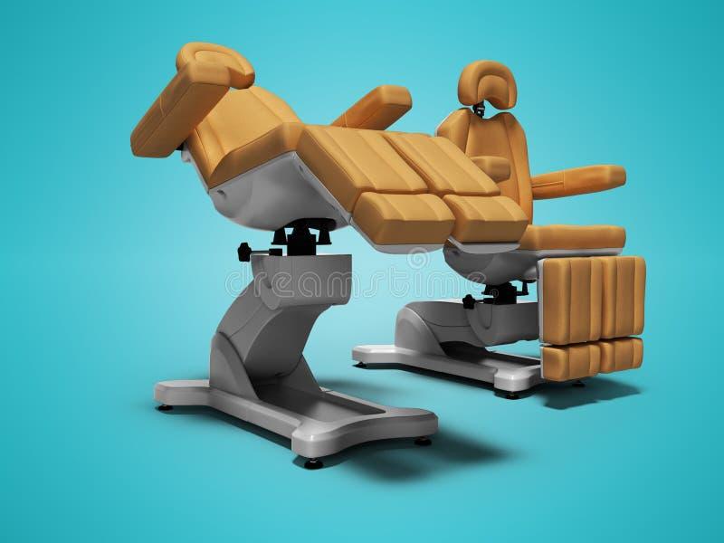 在被折叠的和展开的状态3d的现代皮革修脚椅子在与阴影的蓝色背景回报 向量例证