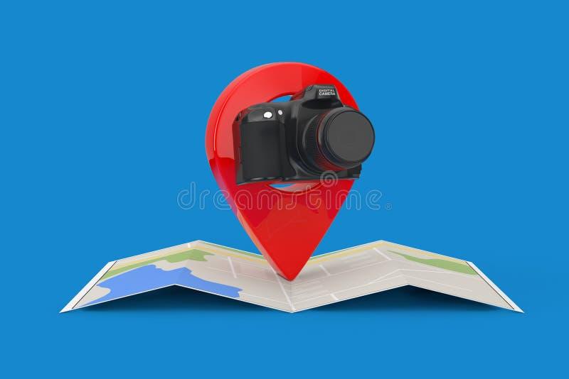 在被折叠的抽象航海地图的摘要现代数字照片照相机与目标Pin尖 3d翻译 库存例证