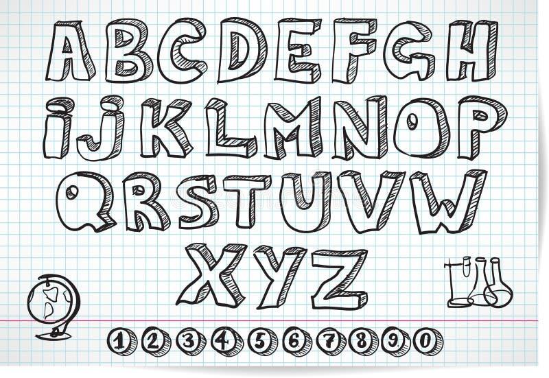在被排行的板料的乱画字体 向量例证
