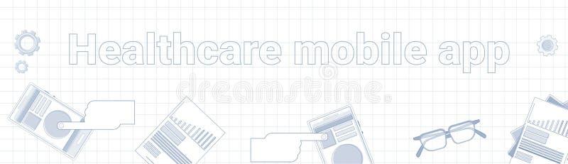 在被摆正的背景水平的横幅网上药物治疗概念的医疗保健流动App词 库存例证