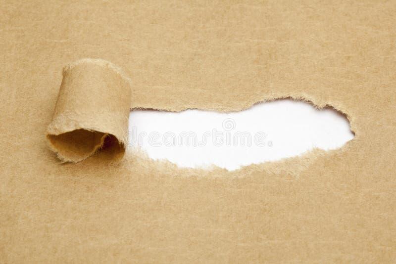 在被撕毁的纸的空白的白色空间 免版税库存照片