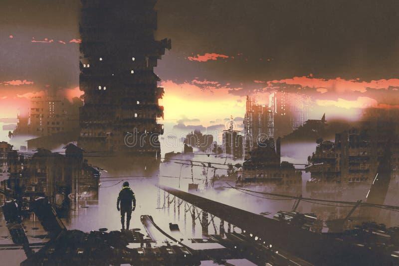 在被放弃的城市供以人员身分,科学幻想小说概念 向量例证