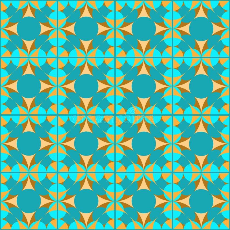 在被检查的背景的无缝的几何绿松石样式 库存例证
