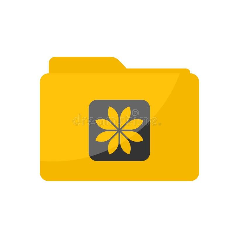 在被环绕的方形的样式的简单的平的最低纲领派黄色画廊文件夹象 皇族释放例证