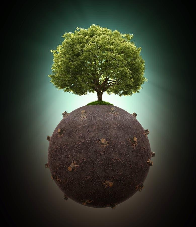 在被砍伐山林的地球的唯一树 库存例证