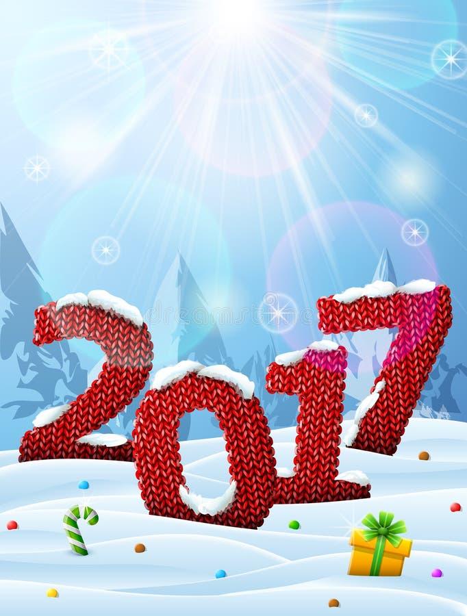在被编织的织品形状的新年2017年在雪的 向量例证