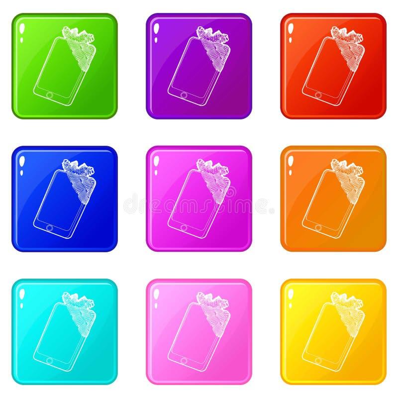 在被胶合的赔偿象的小配件设置了9种颜色汇集 库存例证