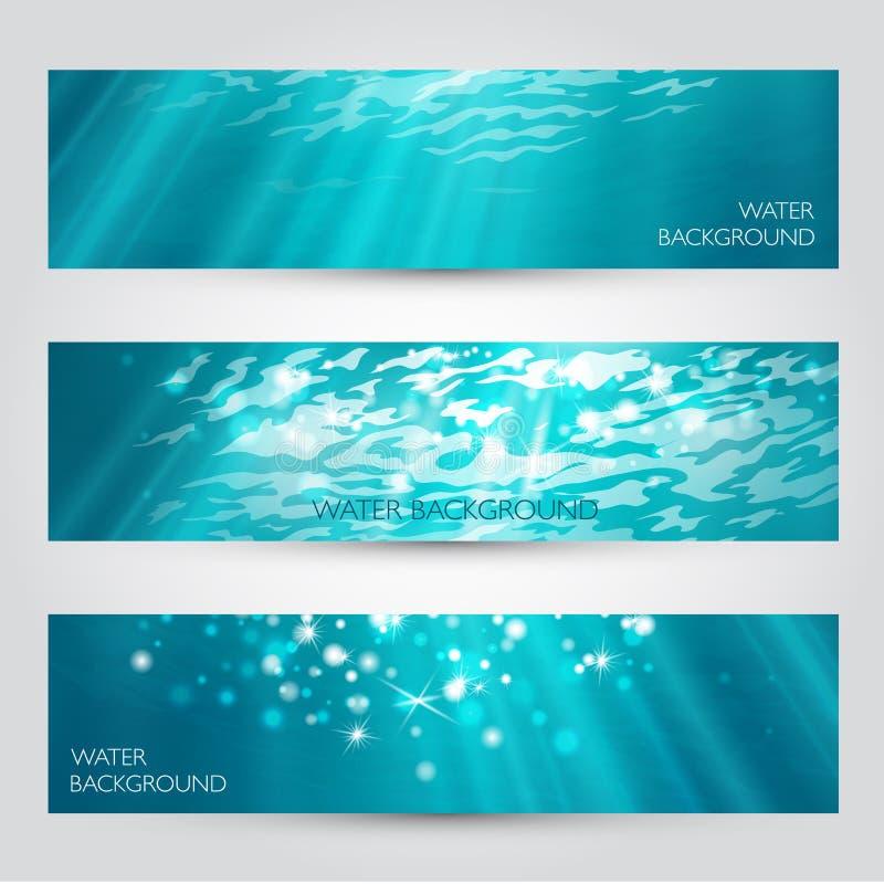 在被设置的水横幅下的传染媒介 向量例证