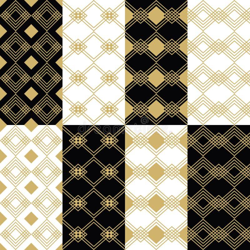 在被设置的黑白背景的金黄现代艺术装饰样式 皇族释放例证