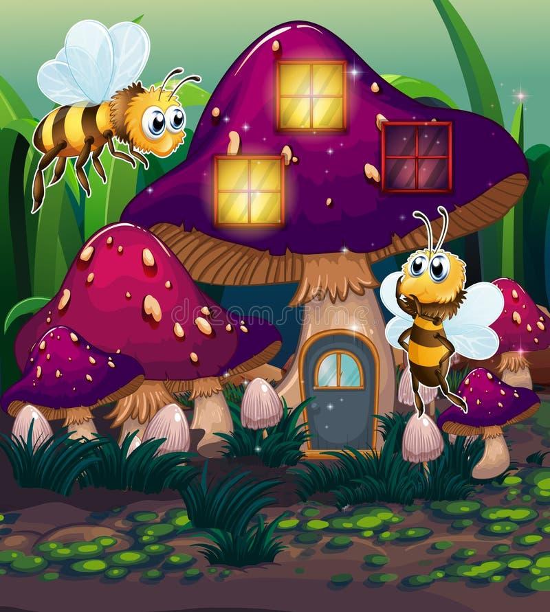 在被迷惑的蘑菇房子附近的蜻蜓 库存例证