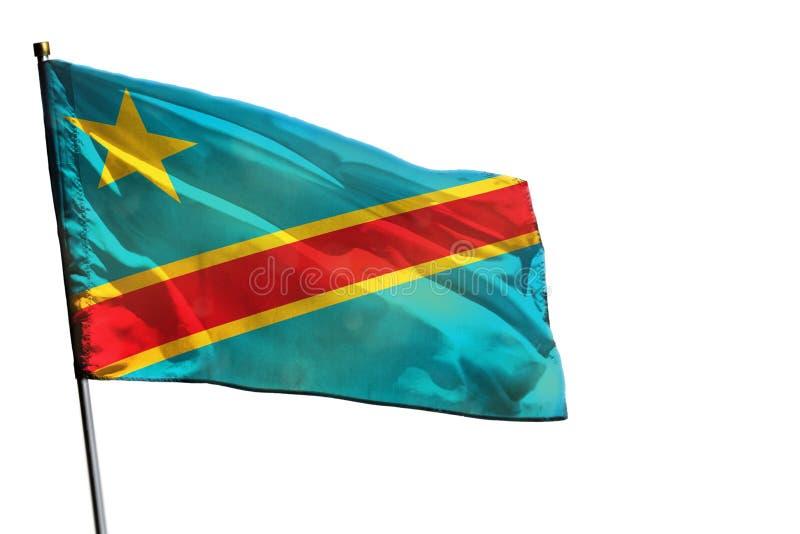 在被隔绝的清楚的白色背景的振翼的刚果民主共和国旗子 库存图片