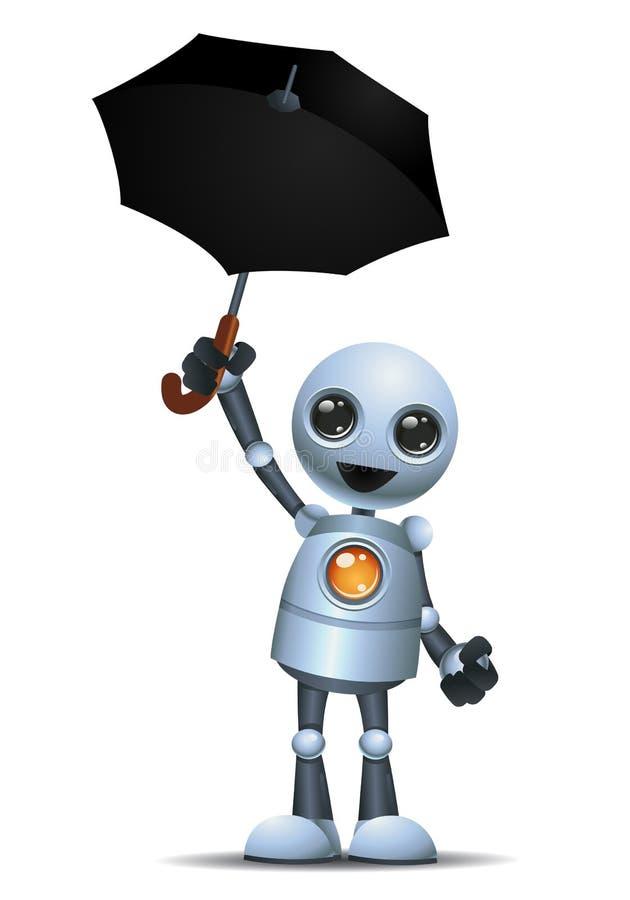 在被隔绝的白色背景的一点机器人举行伞 向量例证