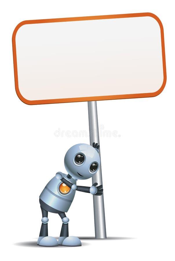 在被隔绝的白色背景的一点机器人举行标志 皇族释放例证