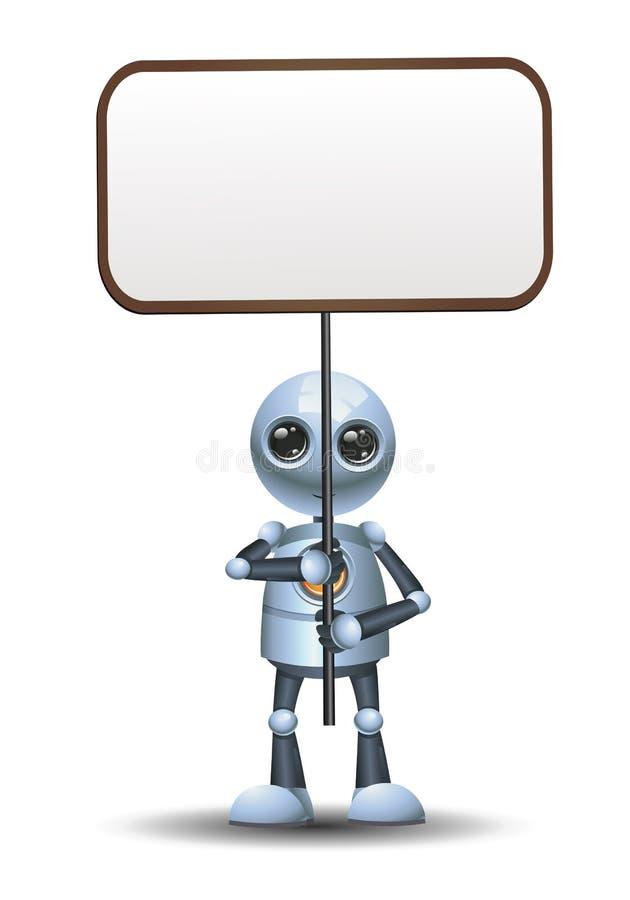 在被隔绝的白色背景的一点机器人举行横幅 向量例证