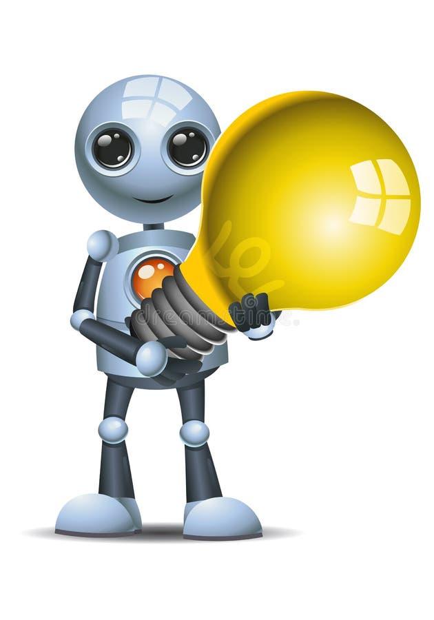 在被隔绝的白色背景的一点机器人举行电灯泡 皇族释放例证
