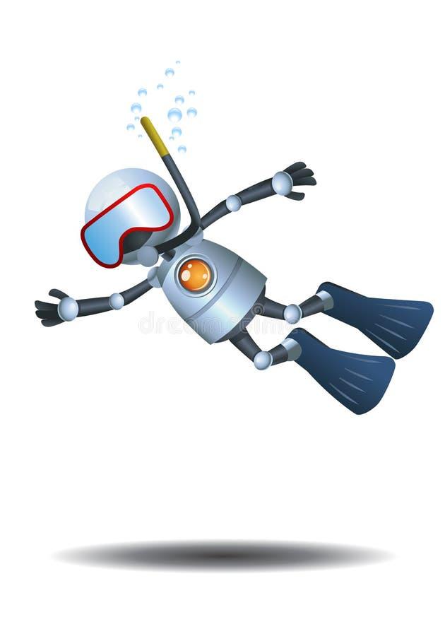 在被隔绝的白色背景的一点机器人潜水 向量例证