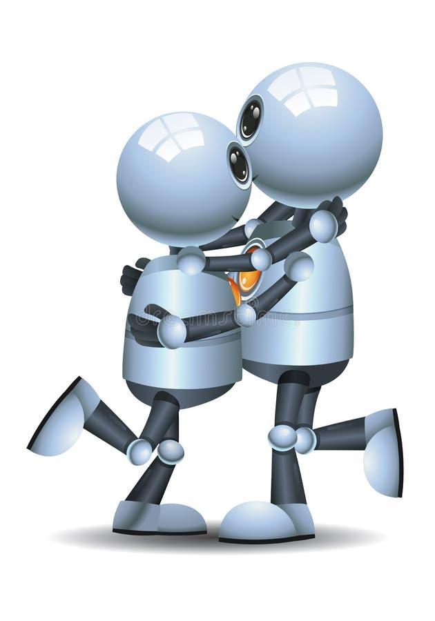 在被隔绝的白色背景的小的机器人夫妇舞蹈 皇族释放例证