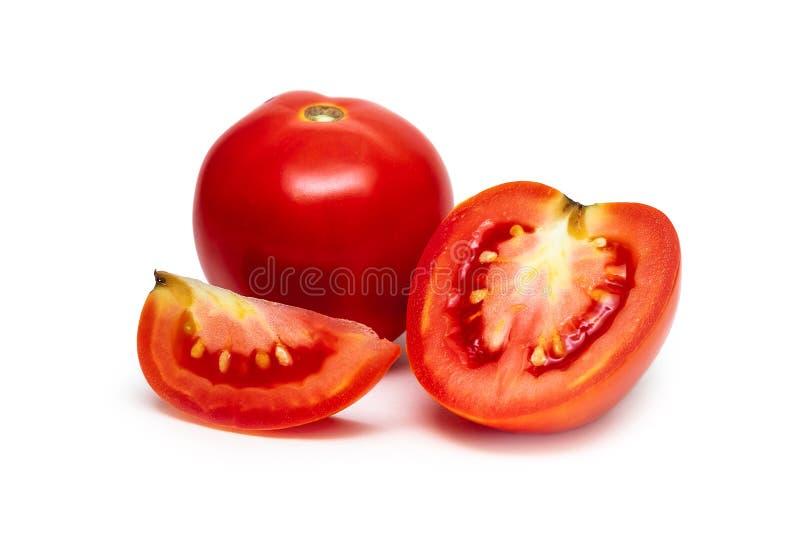 在被隔绝的白色背景的新鲜和发光的红色蕃茄 库存图片