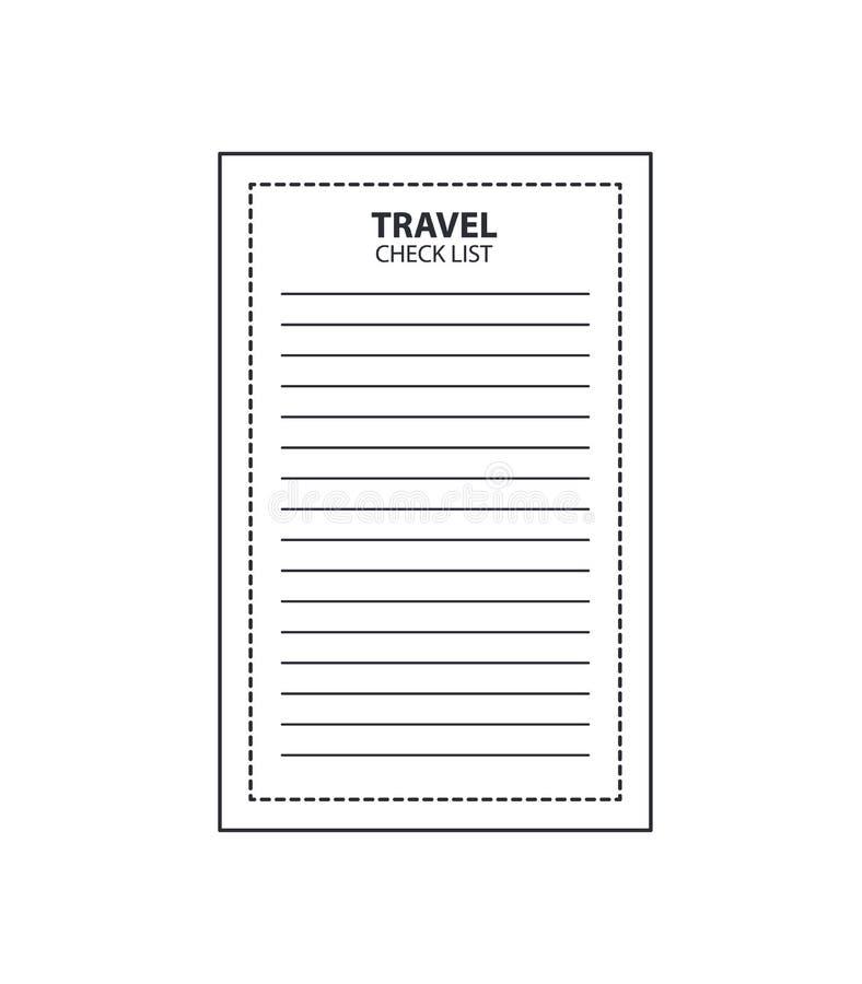 在被隔绝的白色背景的旅行checklistBlack灰色线性象 库存例证