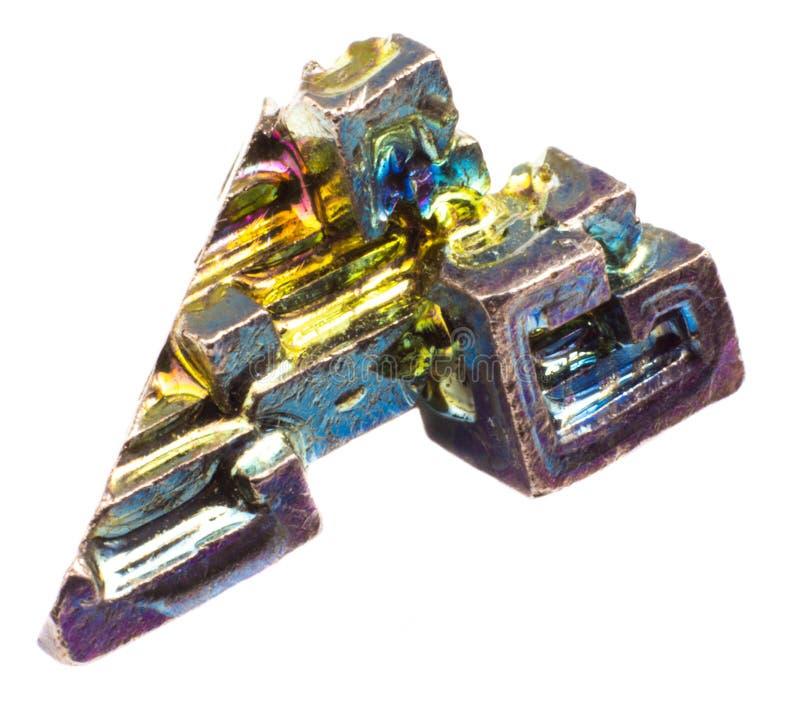 在被隔绝的白色背景的水晶五颜六色的人工地增长的苍铅 库存图片