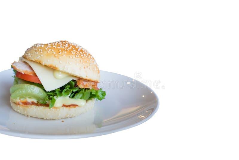 在被隔绝的白色背景的汉堡包 免版税图库摄影