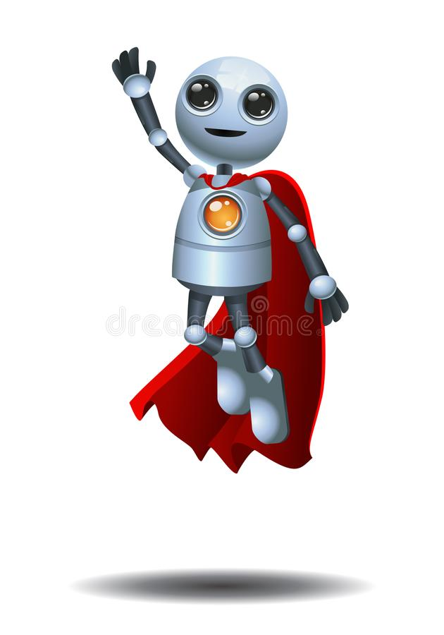 在被隔绝的白色背景的超级小的机器人飞行 皇族释放例证