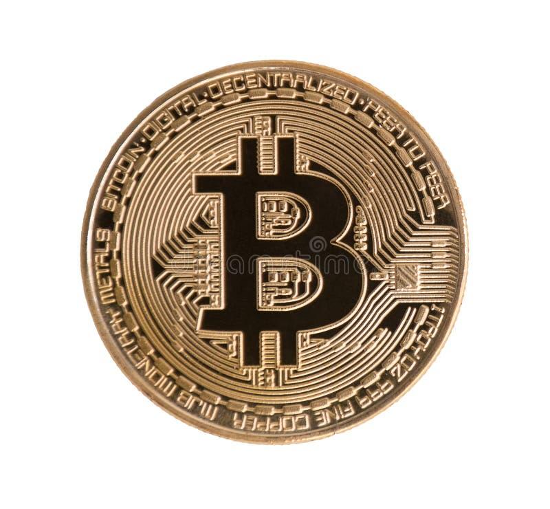 在被隔绝的白色背景的金黄Bitcoin r 财政和商业投资贸易概念 金钱货币和 免版税库存图片