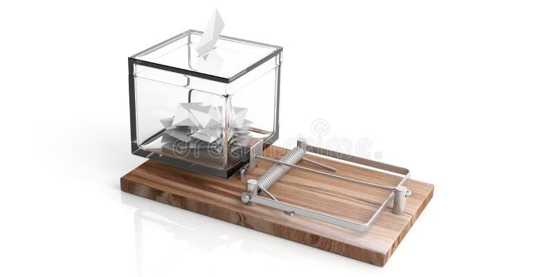 在被隔绝的老鼠陷井白色背景, 3d的表决选票透明箱子例证 向量例证