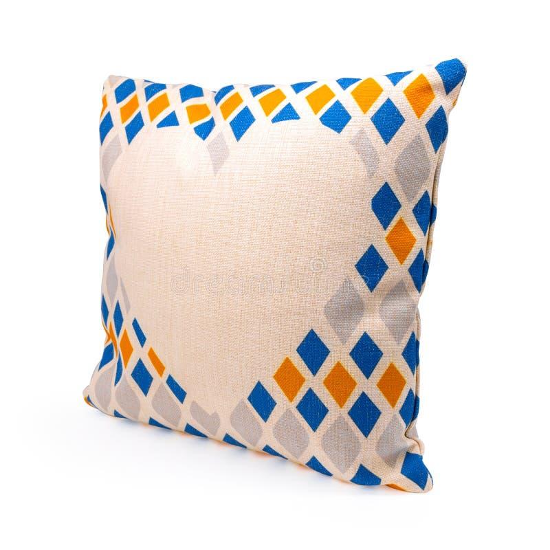 在被隔绝的背景的五颜六色的金刚石形状设计枕头盖子与裁减路线 粗麻布装饰的纺织品纹理 库存例证