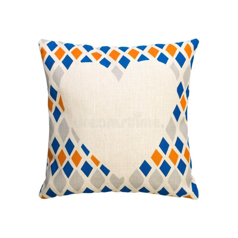 在被隔绝的背景的五颜六色的金刚石形状设计枕头盖子与裁减路线 粗麻布装饰的纺织品纹理 向量例证