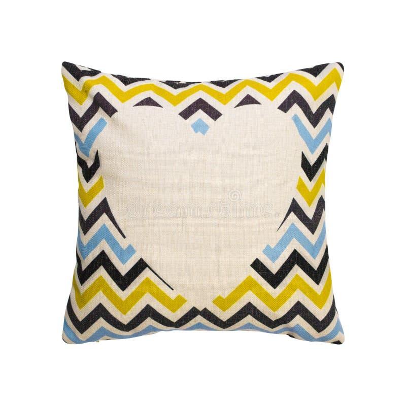 在被隔绝的背景的五颜六色的V形臂章设计枕头盖子与裁减路线 粗麻布装饰的纺织品纹理在您的床上 库存例证