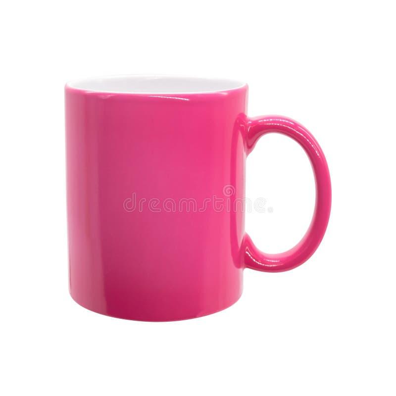 在被隔绝的背景的桃红色杯子与裁减路线 蒙太奇或设计的陶瓷咖啡杯 向量例证