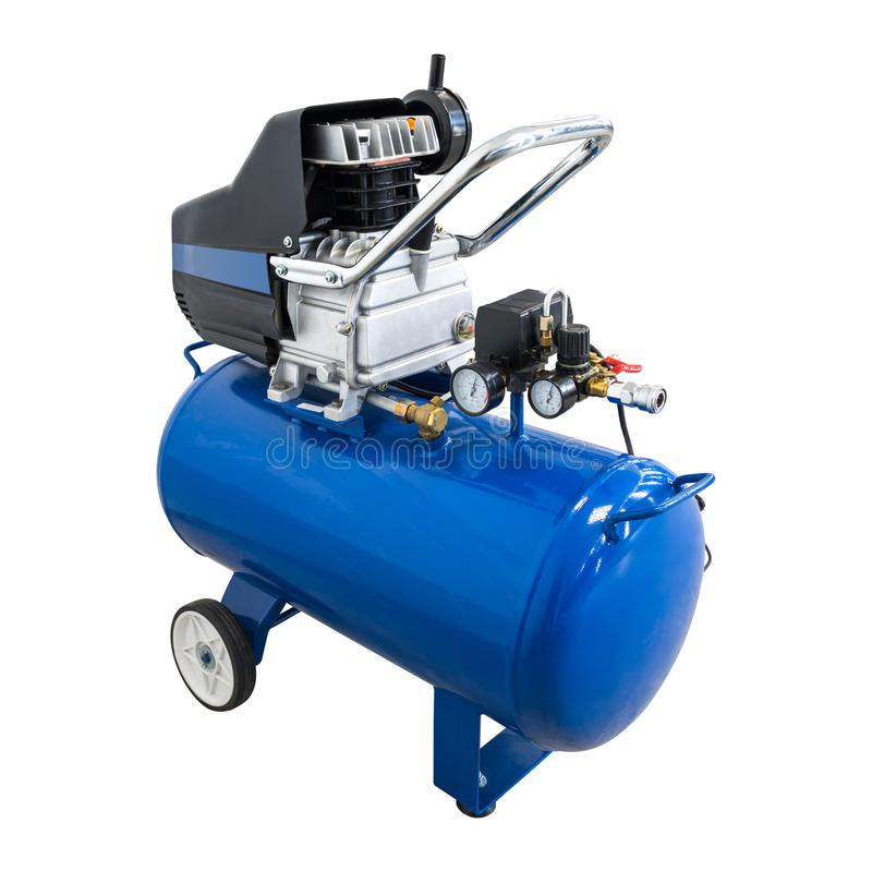 在被隔绝的背景的空气压缩机与裁减路线 泵浦机器或气动力学的引擎用途在汽车工厂 图库摄影
