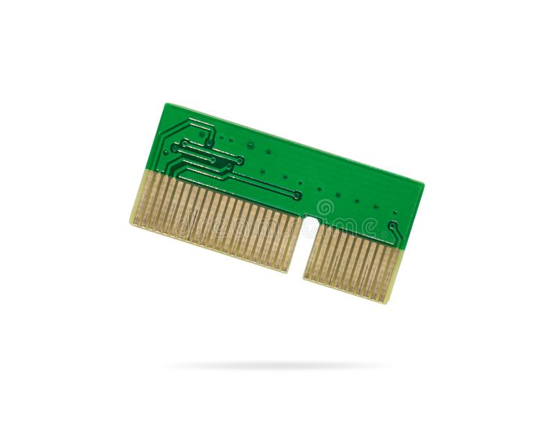 在被隔绝的背景的绿色电路板 计算机微集成电路拟订主板的零件 裁减路线或保险开关对象为 免版税图库摄影