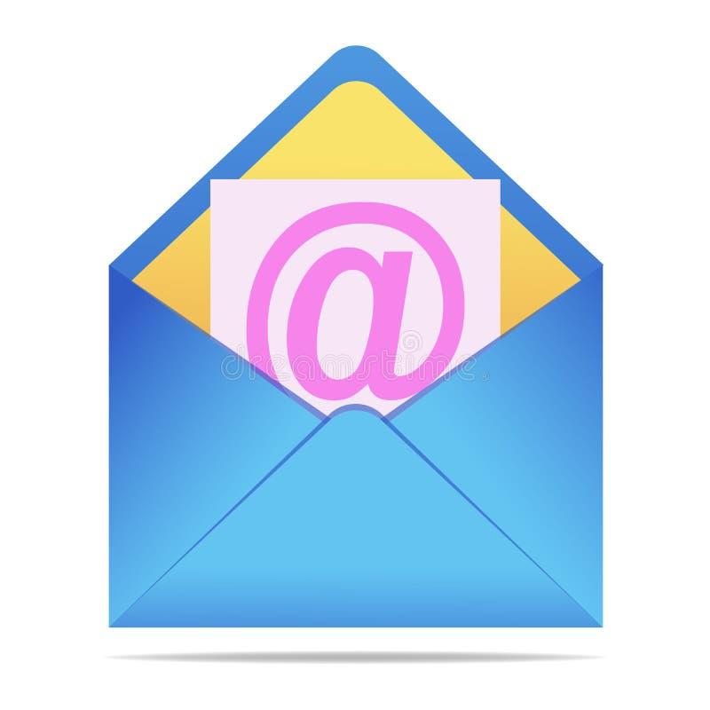 在被隔绝的背景的蓝色信封 在现实样式的传染媒介信封 消息、邮件、电子邮件或者商业文件的标志 Vec 皇族释放例证