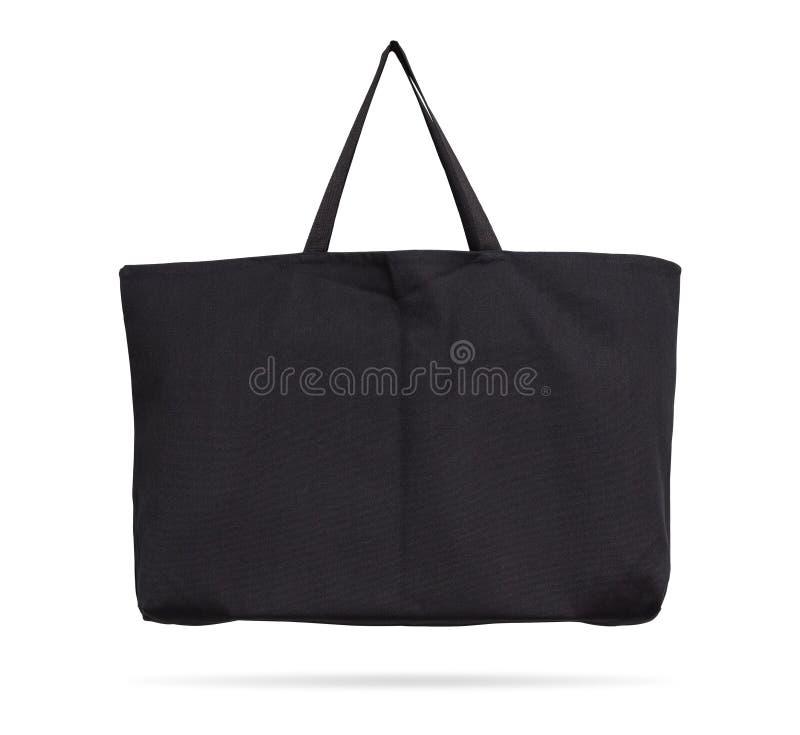 在被隔绝的背景的黑织品袋子与裁减路线 蒙太奇或您的设计模板的购物的囊纺织品 向量例证