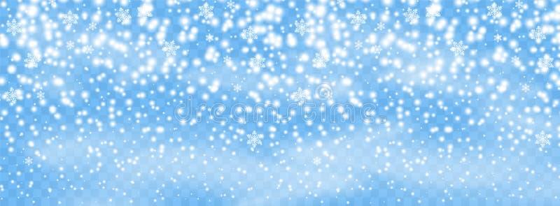 在被隔绝的背景,与风的飞雪的落的雪花剥落 覆盖物设计元素 圣诞节装饰装饰新家庭想法 向量 皇族释放例证