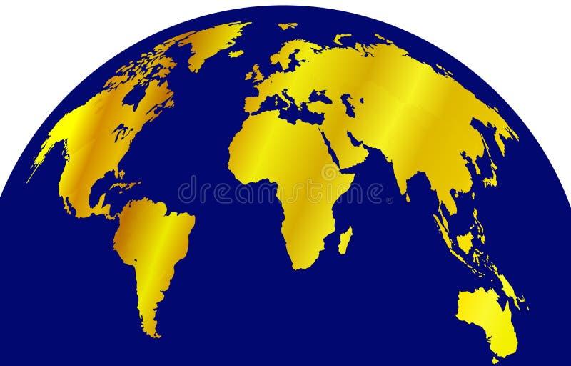 在被隔绝的蓝色地球地球,五颜六色的背景模板,例证的传染媒介金黄地图 库存例证