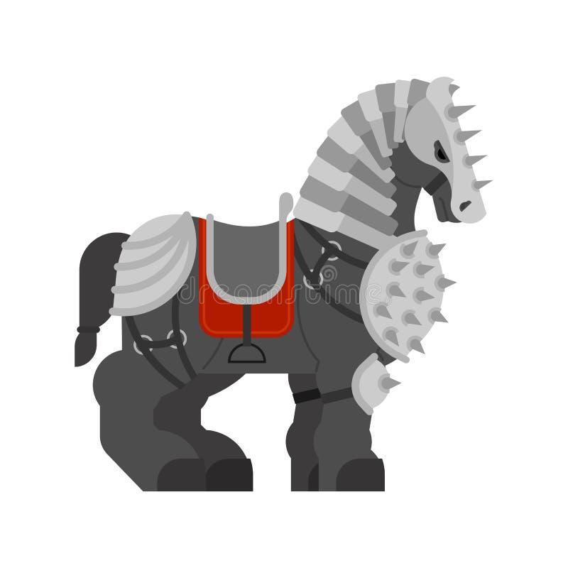 在被隔绝的装甲的马 战士克莱兹代尔强的重的马 库存例证