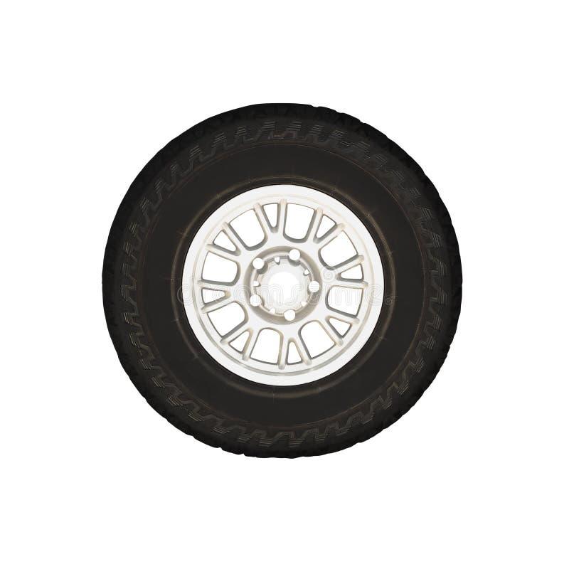 在被隔绝的轮子外缘的全季节轮胎 免版税库存图片